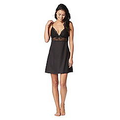 The Collection - Black satin lace detail chemise