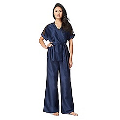 The Collection - Navy lace trim dressing gown, pyjama cami and bottoms set