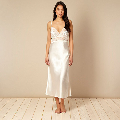 Presence - Ivory beaded lace long nightdress