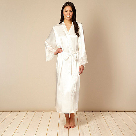 Presence - Ivory lace trimmed satin wrap