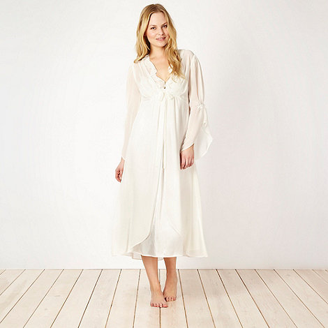 Presence - Ivory embroidered long wrap