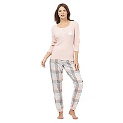 Lounge & Sleep - Light pink ribbed pyjama top and checked bottoms set