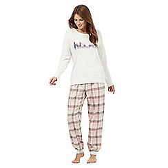 Lounge & Sleep - Grey check print 'Relax' cotton pyjama set