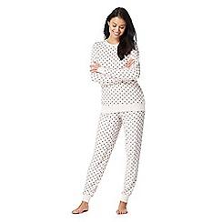 Lounge & Sleep - Light pink heart print knitted pyjama set