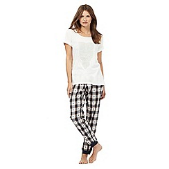 Lounge & Sleep - Cream lace owl pyjama top and navy checked bottoms set