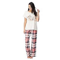 Lounge & Sleep - Pink floral print two-piece pyjama set