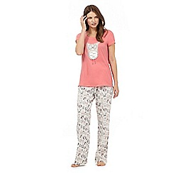 Lounge & Sleep - Orange owl print cotton pyjama set