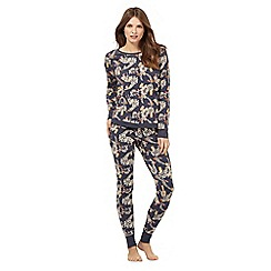 Lounge & Sleep - Navy woodland print cotton pyjama set