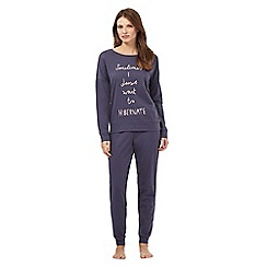 Lounge & Sleep - Navy 'Sometimes I just want to hibernate' slogan print pyjama top