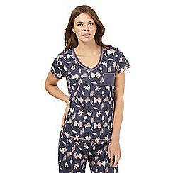 Lounge & Sleep - Navy leaf print pyjama top