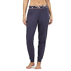 Lounge & Sleep - Navy leaf print trim pyjama bottoms