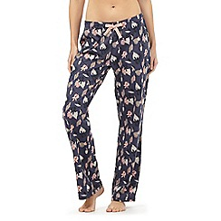 Lounge & Sleep - Navy leaf print pyjama bottoms