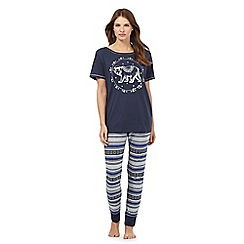 Lounge & Sleep - Petite navy blue bear print pyjama set