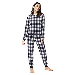 Lounge & Sleep - Navy check print pyjama set