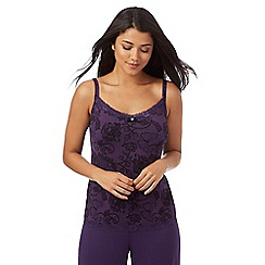 Gorgeous DD+ - Purple jersey floral lace print hidden support cami
