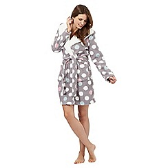 Iris & Edie - Grey spot print sherpa lined dressing gown