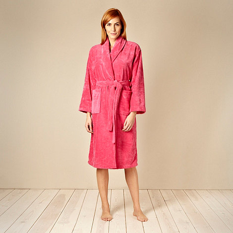 J by Jasper Conran - Designer pink velour towelling dressing gown