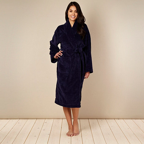 J by Jasper Conran - Designer navy velour towelling dressing gown