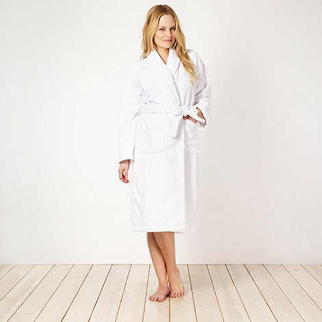 J by Jasper Conran - Designer white velour towelling dressing gown