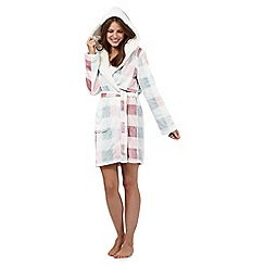 Iris & Edie - Pink checked print dressing gown