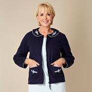 Blue embroidered fleece bed jacket