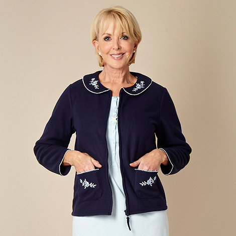 Classics - Blue embroidered fleece bed jacket