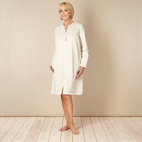 Debenhams Classics - Cream embroidered collared jersey dressing gown