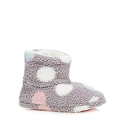 Iris & Edie - Grey polka dot slipper boots