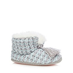 Iris & Edie - Light blue cable knit slipper boots