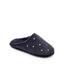 RJR.John Rocha - Navy spotted mule slippers