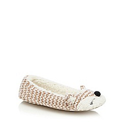 Lounge & Sleep - Pink fox knitted ballet slippers