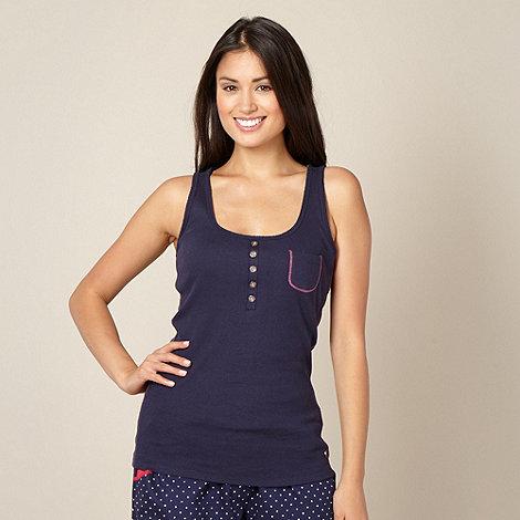 Iris & Edie - Designer navy ribbed pyjama vest