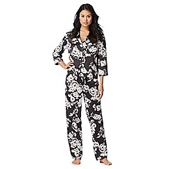The Collection - Black rose print satin pyjama set