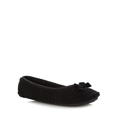 Presence - Black Textured Fleece Ballet Slippers