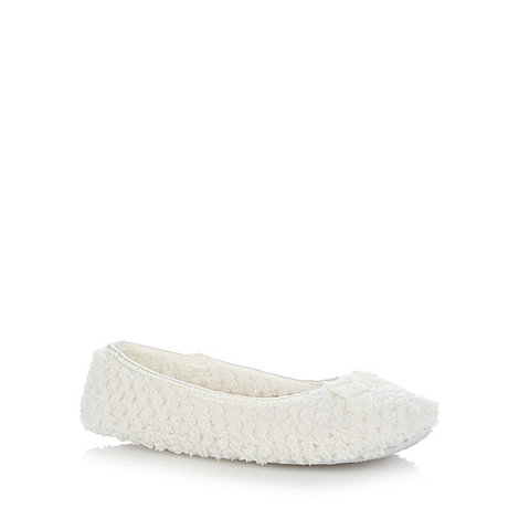 Presence - Cream Textured Fleece Ballet Slippers