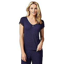 J by Jasper Conran - Navy spot print short sleeve pyjama top