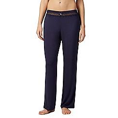 J by Jasper Conran - Navy spot lace waist insert pyjama bottoms