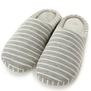 Grey striped jersey mule slippers