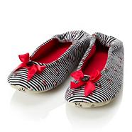 Black floral striped ballet slippers