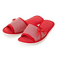 Red striped and polka dotted mule slippers
