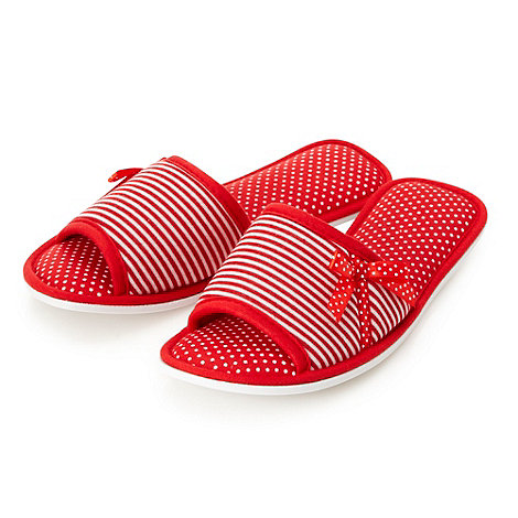 Presence - Red striped and polka dotted mule slippers