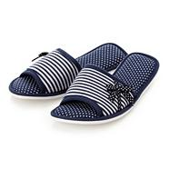 Navy striped and polka dotted mule slippers