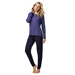 J by Jasper Conran - Purple striped pyjama top and navy bottoms set