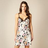 Grey sketched floral satin chemise