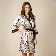 Grey short sketched floral satin robe