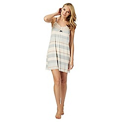 J by Jasper Conran - Pink and grey geometric striped print lace trim chemise