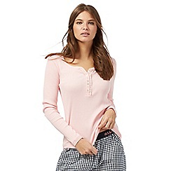 Iris & Edie - Pink ribbed button neck pyjama top