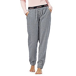 Iris & Edie - Navy and white gingham check print cotton pyjama bottoms