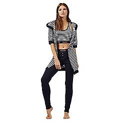 Iris & Edie - Navy and white stripe print cotton pyjama set