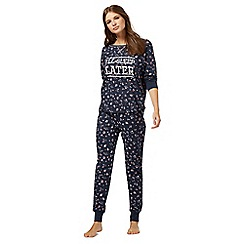 Iris & Edie - Navy floral print 'I'll sleep later' pyjama set